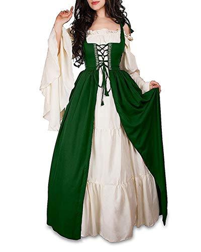 Damen Mittelalterliche Kleid mit Trompetenärmel Mittelalter Party Kostüm Maxikleid Grün L