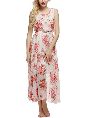 ACEVOG Damen Kleid Chiffonkleid Sommerkleid Lang Maxikleid Bohemian Ärmellos  Rote Blumen