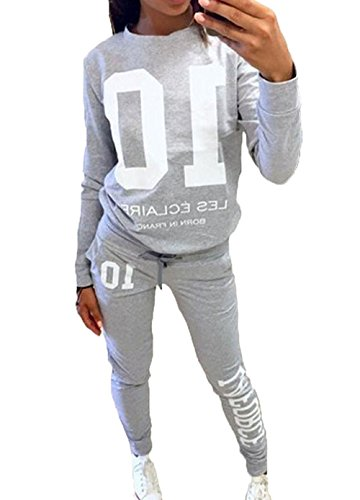 DoubleYI Damen Jogginganzug Langarm Anzug Pullover Sportanzug Trainingsanzug Sweatshirt Anzug mit Hose 2pcs