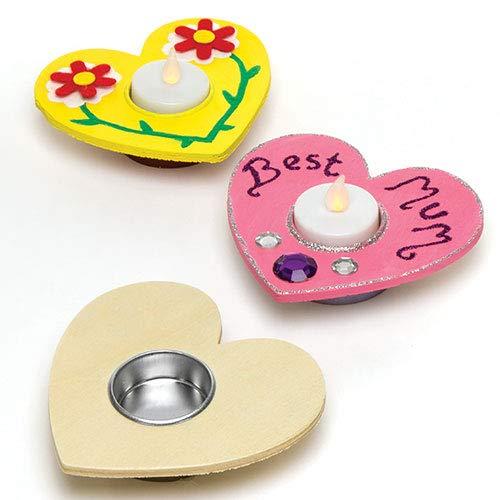 Baker Ross Herz Teelichthalter aus Holz zum Bemalen und Dekorieren für Kinder; toll zum Muttertag und Valentinstag (4 Stück)
