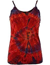 GURU-SHOP, Colorida Camiseta Goa Batik, Camiseta Batik, Azul, Algodón,