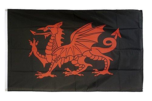Fahne / Flagge Walisischer Drache schwarz + gratis Sticker, Flaggenfritze®