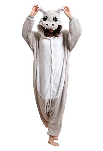 Honeystore Unisex Flannel Jumpsuit Hippo Trickfilm Cartoon Abend Kleider Pyjama Kostüm L (Weiblich Einfach Ideen Halloween-kostüm)