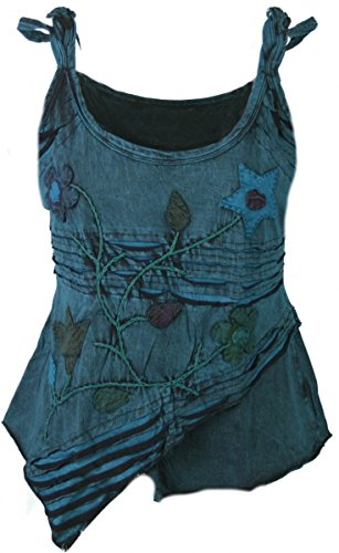 Dark Dreams Ethno Psy Nepal Pixie Top Tank Shirt Razorcut Witchy Pagan 36 38 40 42, Größe:L/XL, Farbe:blau (Dream Catcher Kostüme)