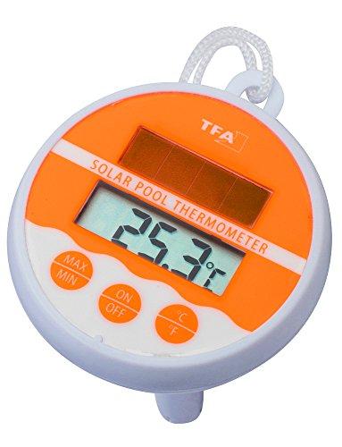 TFA Dostmann Pool-Schwimmbad-Thermometer Temperaturkontrolle (Neonorange 30.1041.13)
