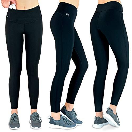 Formbelt® Laufhose Damen mit Tasche lang - Leggins Stretch-Hose Lauf-Tights für Smartphone iPhone Handy Schlüssel Yoga (A-schwarz, XS)
