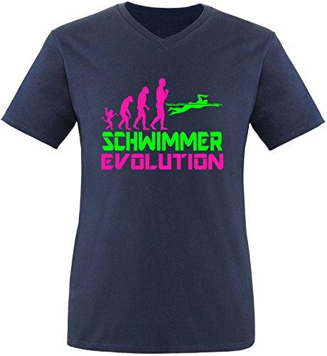EZYshirt® Schwimmer Evolution Herren V-Neck T-Shirt Navy/Pink/Neongr