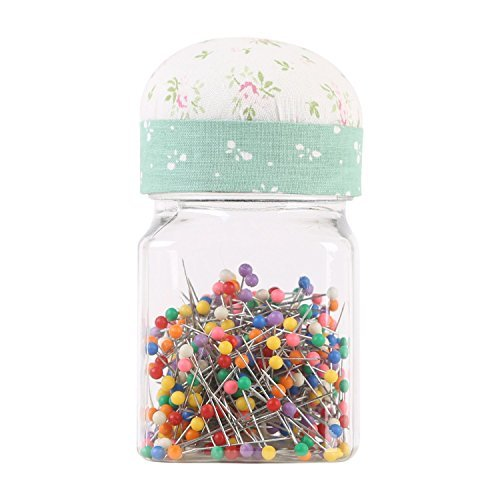 Neoviva Plastic Storage Jar Containers with Pin Cushion Lid for Quilting Pins, 200 Ball Head Pins Included, Floral Mist Green by Neoviva -
