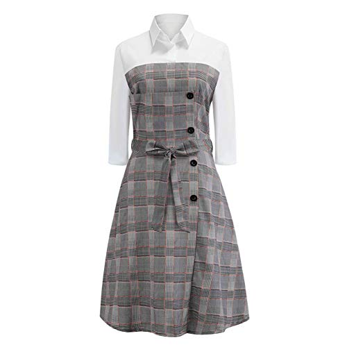 MTBDLYQ Damen Kleider Elegant,Women's Casual Plaid Taste Robe Femme Elegante Lange Hülse Weiblichen Baggy Belt Kleid (Womens Plaid Robe)