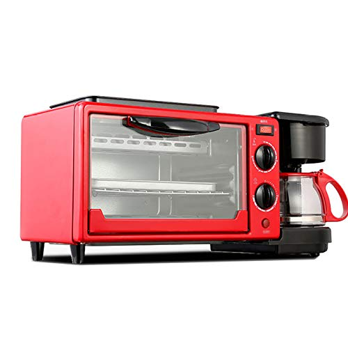 LI DANNA 3 In 1 Home Breakfast Machine Kaffeemaschine Bratpfanne Brot Toaster Elektrischer Ofen Brotbackautomat,Red