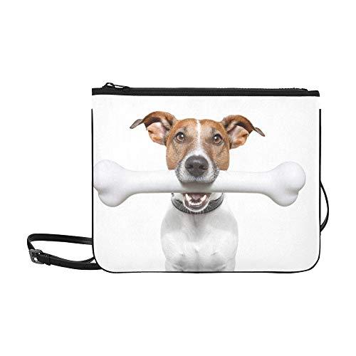 WYYWCY Hunde Essen mit Knochen Bunte Linie Gelb Muster Benutzerdefinierte hochwertige Nylon Slim Clutch Crossbody Tasche Umhängetasche -