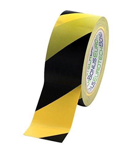 BONUS Eurotech 1BL23.71.0050/033A# Ruban de marquage au sol PVC, largeur 50 mm, longueur 33 m, adhésif à base de caoutchouc, épaisseur 0,17 mm, Jaune/noir