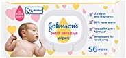 JOHNSON'S Baby, Wipes, Extra Sensitive, 98% pure water, pack of 56 wipes, 29160