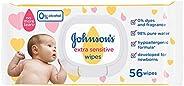 مناديل مبللة للأطفال حديثي الولادة شديد الحساسية من جونسون، 56 منديل، عبوة واحدة