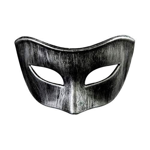 Paar Gangsta Kostüm - Mmhot-mj Unisex Maskerade Venezianische Paar Matte Masken Halloween Cosplay Karneval Party Kostüm Zubehör (Farbe : Silver, Size : 16.5 * 8cm/6.49 * 3.14in)