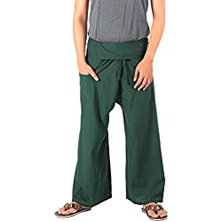 CandyHusky Original 100% algodón hombres mujeres pescador Pantalones pantalones Casual BOHO Hippie pantalones de yoga, Mujer, color verde oscuro, tamaño Talla única