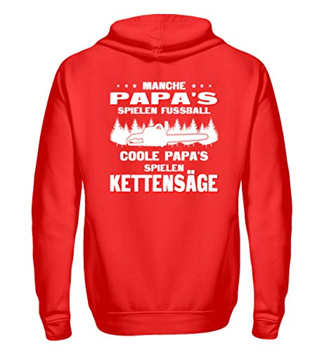 Coole Papa's Spielen Kettensäge - Holz-Shirt/Holzfäller/Vatertag/Axt/Pullover - Zip-Hoodie -M-Rubinrot Papa Zip Hoodie