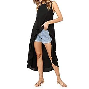 Kobay Damenmode ärmellose unregelmäßiger Rand Feste Lange Top T Shirt Bluse