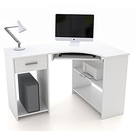 Schreibtisch Eckschreibtisch PC Tisch SILVIA in weiß mit Tastaturauszug und Schublade, 117x74x78