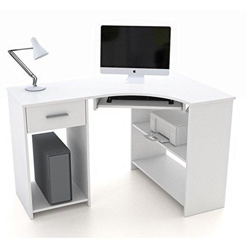 Schreibtisch Eckschreibtisch PC Tisch SILVIA in weiß mit Tastaturauszug und Schublade, 117x74x78 cm