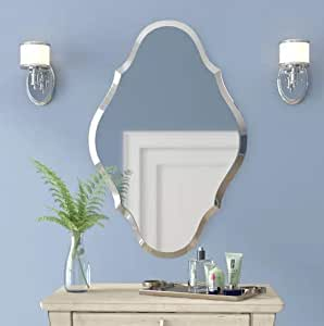 Venetian Design Beveled Polish 4mm Authentic Silver Frameless Wall Mirror with Easy to Hang Mirror Brackets   Comes with 2.5mm MDF Backing for Added Strength   Bathroom Mirror   Mirror for wash Basin