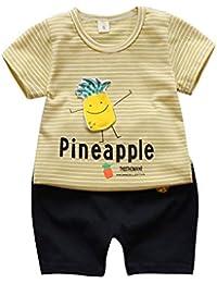 Shining Conjunto de ropa de verano para bebés Boy Girl con estampado de  rayas de piña f1b29f564cf9
