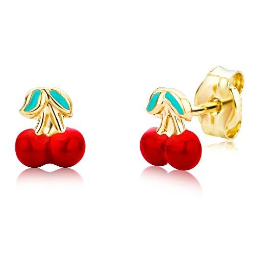 Miore Ohrringe Kinder Mädchen  Gelbgold 14 Karat / 585 Gold Ohrstecker mit Kirschen -