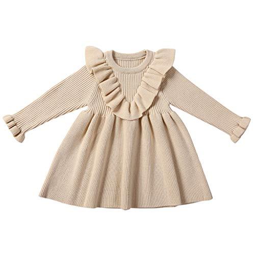 Kleinkind Kinder Baby Mädchen Solide Tops Rock Stricken Häkeln Pullover Kleid Kleidung