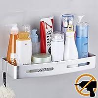 Wangel Shower Storage Basket Shelf for Bathroom and Kitchen, Patented Glue + Self-Adhesive, Aluminium, Matte Finish