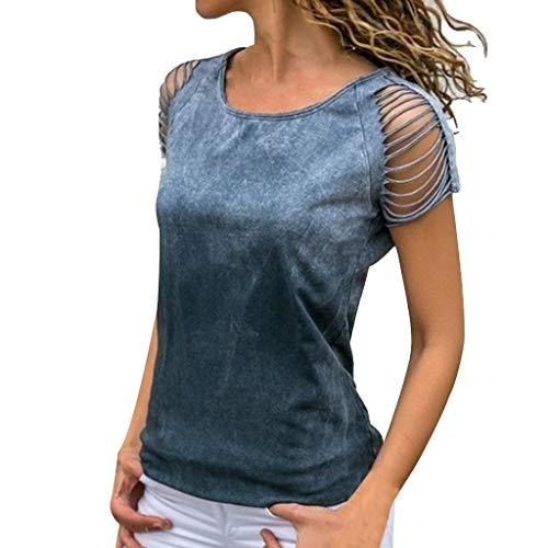 MRULIC Damen Kurzarm T-Shirt Rundhals Ausschnitt Lose Hemd Pullover Sweatshirt Oberteil Tops (Rot Und Weiß Gestreiftes Shirt Ziel)