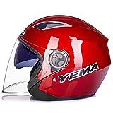 ZXW Casco- Casco de Motocicleta para Hombres y Mujeres Medio Casco Cuatro Estaciones Medio Cubierto Doble Espejo antivaho Resistente al Desgaste Casco antivaho (Color : Red, Tamaño : 32x24x24cm)