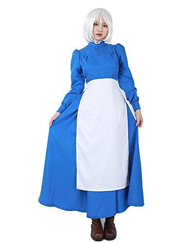 Miccostumes Damen sophie maid kleid cosplay kostüm mit weißer schürze frauen m - Howl's Moving Castle Cosplay Kostüm
