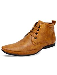 Emosis Stylish Ankle Black Tan Brown In Color Corporate Office Lace-Up Formal Derby Shoes For Men