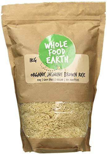 Wholefood Earth - Organic Jasmine Brown Rice - Raw - GMO Free - Vegan - No additives - 1kg