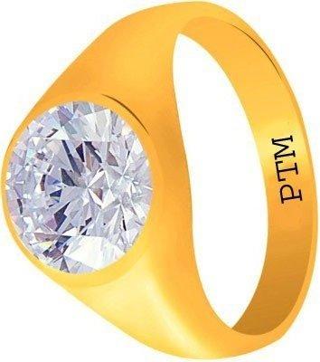 PTM Certified Natural 8.25 Ratti or 7.50 Carat Zircon (American Diamond) Astrological GemstonePanchdhatu 22k Gold Plated Ring