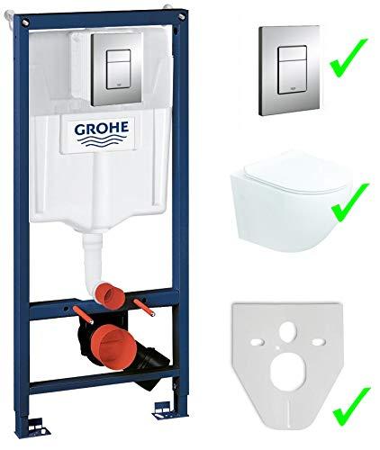 Chrom Wand (Grohe Vorwandelement inkl. Drückerplatte chrom + Lavita Wand WC Vela ohne Spülrand + WC-Sitz mit Soft-Close-Absenkautomatik + Wand-Halter-Set)