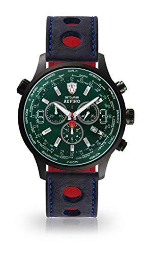 DETOMASO AURINO Racing Montre Hommes Chronographe Chronographe Analogique Quartz Bleu Racing Bracelet Cuir Vert Cadran Vert DT1061-N-834
