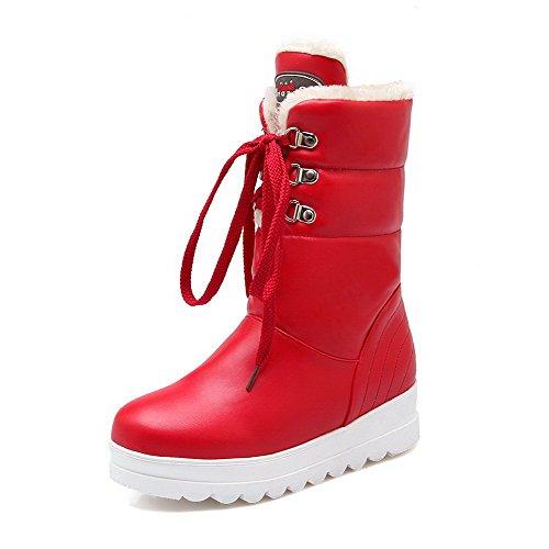 VogueZone009 Damen Blend-Materialien Schnüren Niedriger Absatz Niedrig-Spitze Stiefel Rot