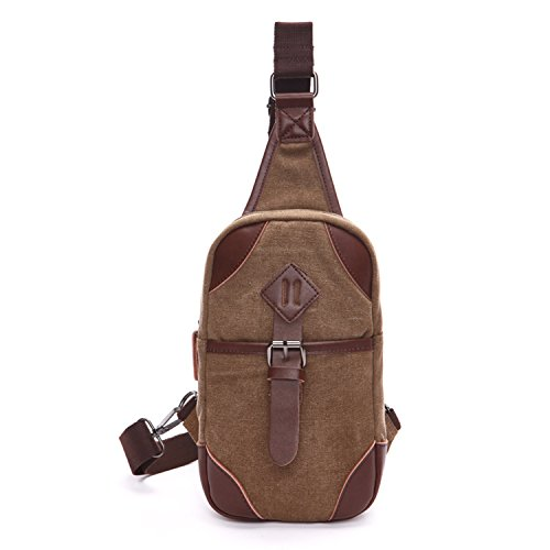 Outreo Borsa a Spalla Petto Borse Vintage Chest Bag Piccolo Tracolla Uomo Sport Marsupio Tasca di Tela per Outdoor Borsello Militare Tasche Trekking Viaggio Marrone