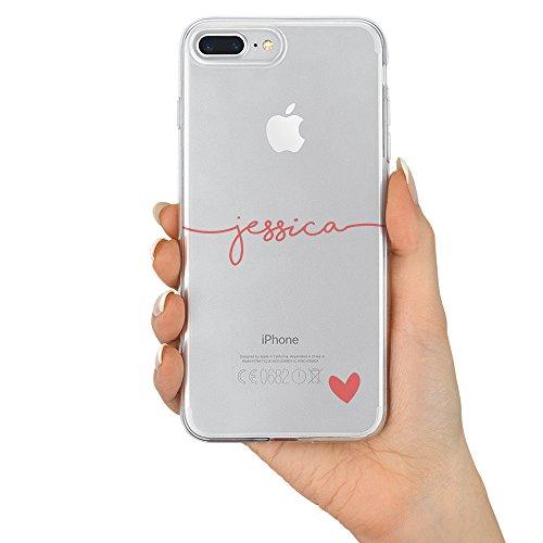 TULLUN Personalisierte Brauch Name und Heart V1 Klare Soft Gel Schutzhülle Handy Hülle für iPhone Modelle - Rosa Name und Herz - für iPhone X/Xs