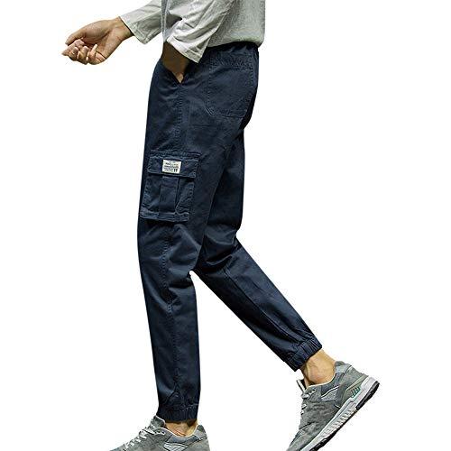 serliy Mens Fashion Reine Farbe Tasche Neun Punkte Kleine Füße Looser Casual Pant Pant Langarm Tragen Lässige Anzug Tragen Lässige Kleidung Kleid langärmlig Knopfleiste schöne Langarmshirts