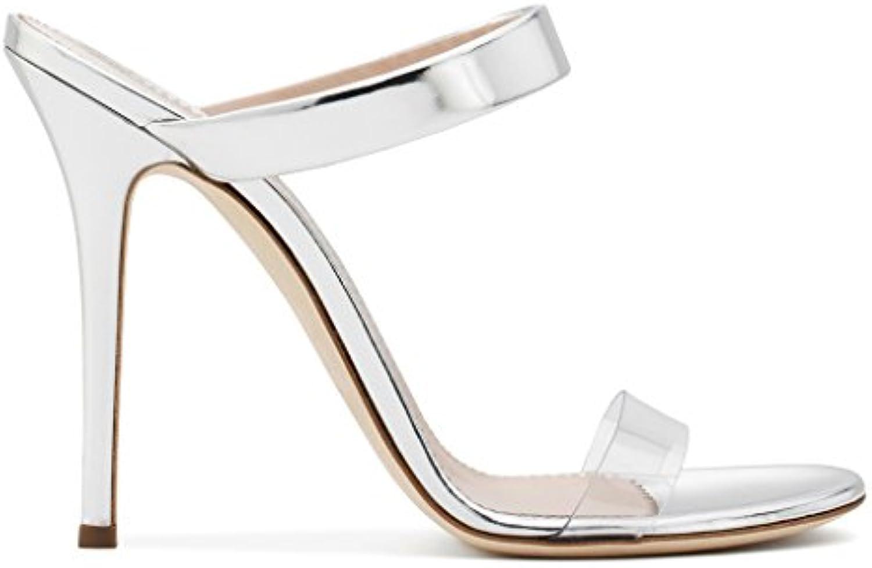 LYY.YY Sandalias De Tacón Alto De PVC para Mujer Zapatillas Zapatillas Mules Moda Chanclas De Costura Transparentes...