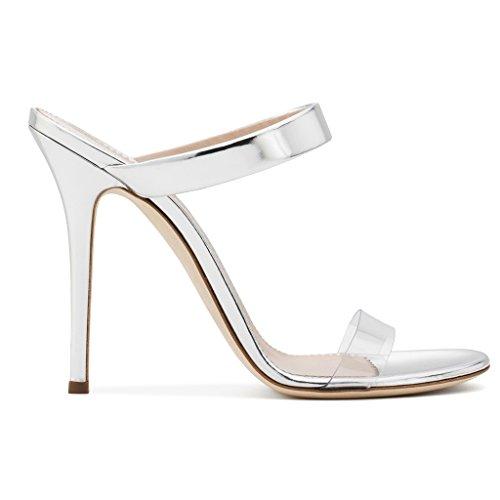 LYY.YY Sandali Da Donna Con Tacco Alto In PVC Pantofole Scarpe Da Muli Moda Infradito Con Cuciture Trasparenti (Altezza Del Tacco: 11-13 Cm),White,34