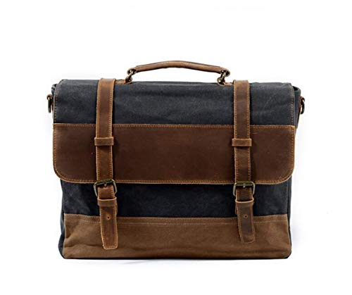 wasserdichte Canvas Messenger Bag Leder Business Aktentasche Handtasche Mode lässig Herren Umhängetasche Umhängetasche Laptop Tote -16 Zoll (Color : Dark Gray, Size : One Size) 16 Im Notebook