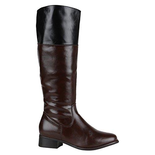 Klassische Stiefel Damen Nieten Schnallen Leder-Optik Schuhe 144475 Braun Schwarz 39 EU | Flandell®