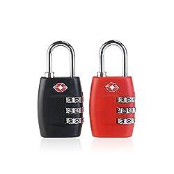 PIXNOR 2ST Reiseschloss TSA Approved Gepäckschloss Kofferschloss Zahlenschloss Vorhängeschloss für Travel (rot + schwarz)