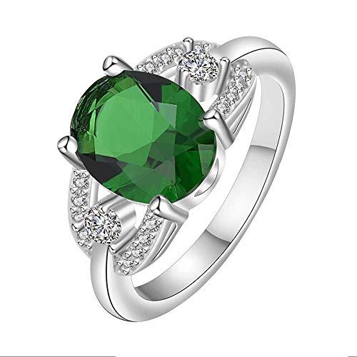 Purmy donne anello bianca placcato oro fede nuziale con verde cubic zirconia elegante modello ovale forma design dolce stile dimensione 12
