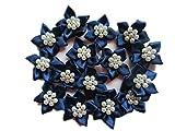 Yycraft 50PCS nastro di raso fiore con perle cucito applique per fai da te capelli archi Craft, accessori capelli sposa e cucire artigianali (2,5cm) 1' Dainty