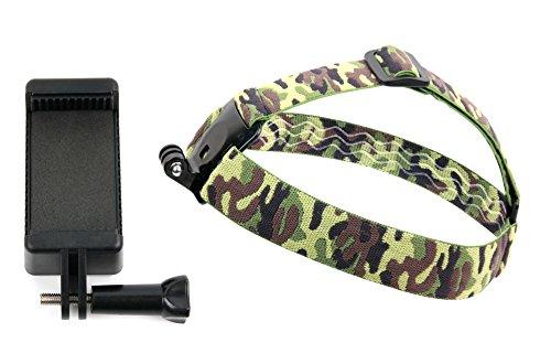 DURAGADGET Kopfhalterung Camouflage und Smartphone-Halter für Icefox S6 / H1 / i8 / i7 / Hero Plus. GoPro- und andere Action-Kameras sind ebenfalls mit der Kopfhalterung verwendbar