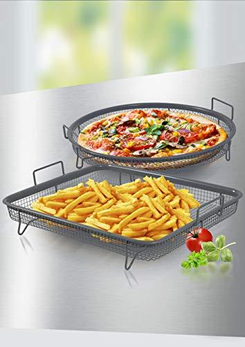 Unbekannt Backofen Grillkorb-Set XL, 2-teilig, Edelstahl Ceraflon-antihaftbeschichtet
